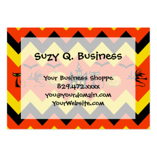 Halloween Chevron Haunted House Black Cat Pattern Large Business Card