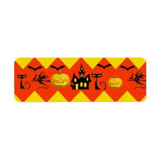 Halloween Chevron Haunted House Black Cat Pattern Return Address Label