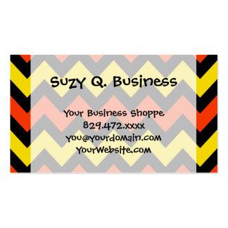 Halloween Chevron Striped Pattern Black Orange Business Card Templates