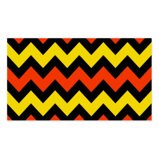 Halloween Chevron Striped Pattern Black Orange Business Cards