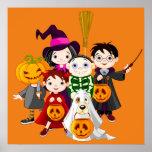 Halloween children trick or treating poster