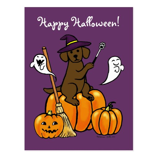 Halloween Chocolate Labrador Cartoon 2 Postcard