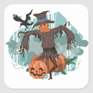 Halloween Classic Round Sticker/Scarecrow Square Sticker
