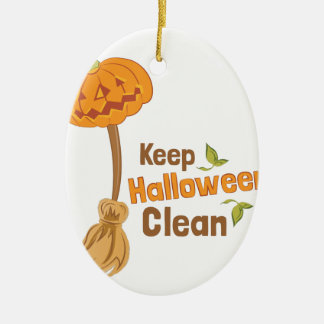 Halloween Clean Ceramic Oval Ornament