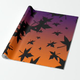 Halloween Colours With Blk Leaves Wrapping Paper