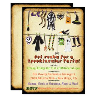Halloween Costume Party Clothesline invitation