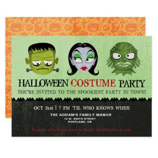 Halloween Costume Party Monster Masks Invitation