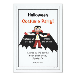 "Halloween Costume Party Vampire 5"" X 7"" Invitation Card"