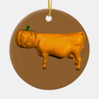 Halloween Cow Round Ceramic Ornament