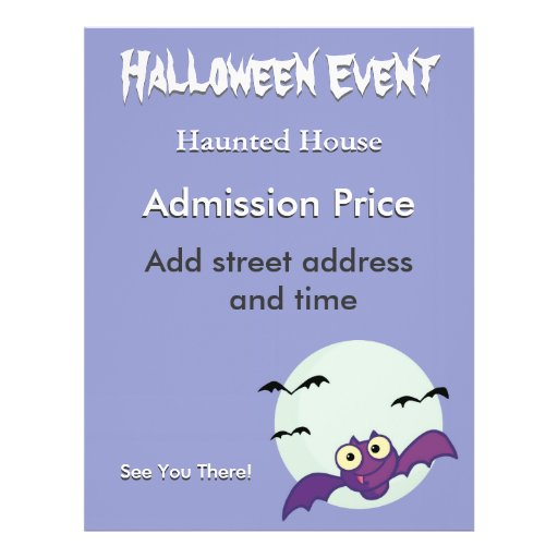 Halloween Crazy Bats Haunted House Flyer