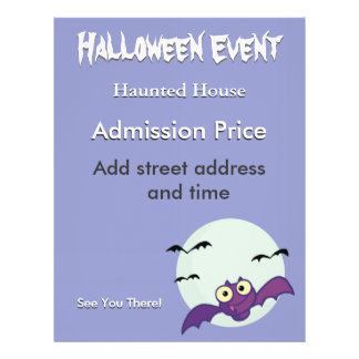 Halloween Crazy Bats Haunted House Personalized Flyer