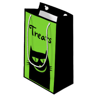 Halloween Crazy Black Cat Green Treats Gift Bag
