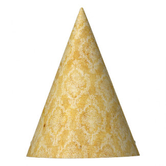 Halloween Creamy Orange Damask Grunge Party Hat