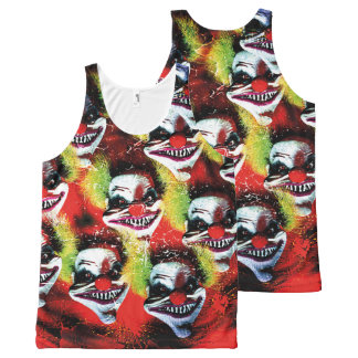halloween creepy evil horror clown collage All-Over-Print tank top