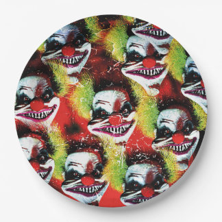 halloween creepy evil horror clown collage paper plate