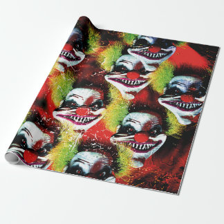 halloween creepy evil horror clown collage wrapping paper