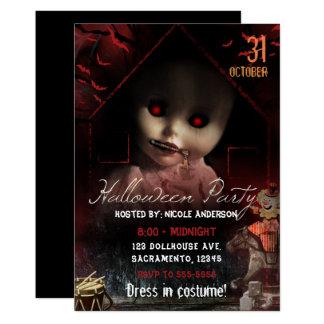 Halloween Creepy Haunted Doll Party Card