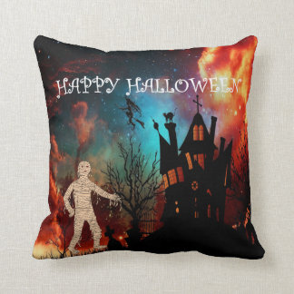 Halloween creepy mummy throw cushion