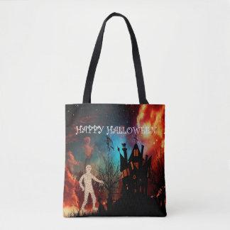 Halloween creepy mummy tote bag
