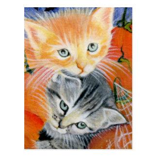 halloween critters kitties postcard