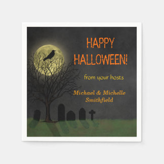 Halloween Crow on Tree with Moon Party Paper Napkins