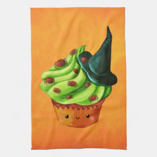 Halloween Cupcake full of tiny spiders Kitchen Towel
