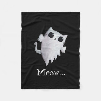 Halloween cute ghost cat fleece blanket