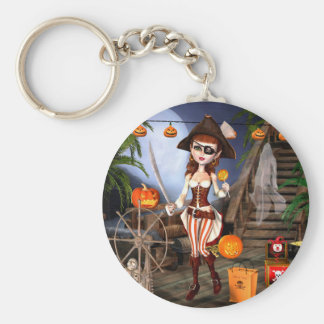 Halloween Cute Pirate Girl Button Keychain