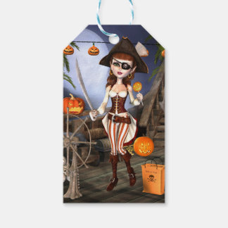 Halloween Cute Pirate Girl Custom Gift Tags Pack Of Gift Tags