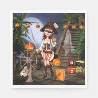 Halloween Cute Pirate Girl Paper Napkins