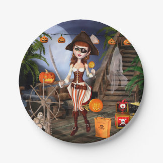 Halloween Cute Pirate Girl Paper Plates