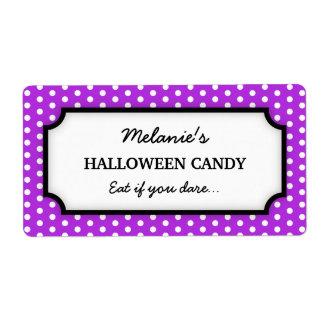 Halloween cute purple polka dots canning jar label shipping label