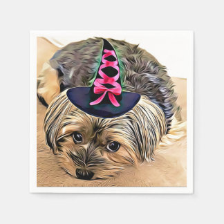 Halloween Cute Yorkshire terrier with witch hat, Disposable Napkin