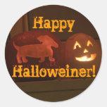 Halloween dachshund jack-o-lantern stickers