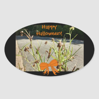 Halloween Dead Flowers Photo 4 Oval Sticker