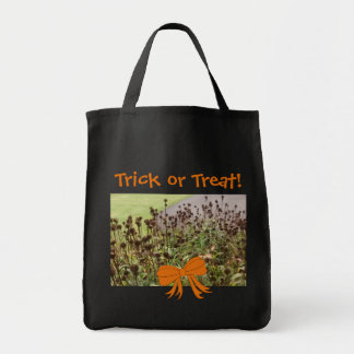 Halloween Dead Flowers Trick-or-Treat Black Tote Bag