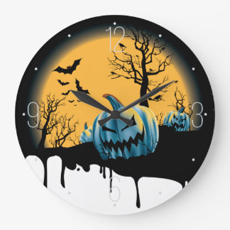 Halloween dead tree, moon,devil pumpkin, bats clock