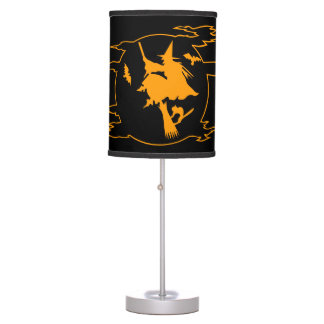 Halloween decor lamps   wicked witch on broom