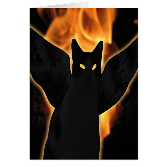 Halloween Demon Cat Card