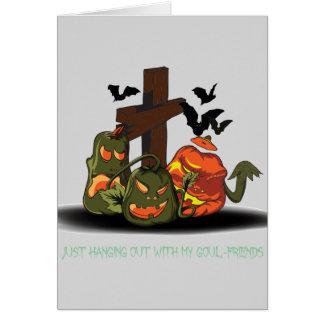 Halloween devil pumpkins in graveyard card