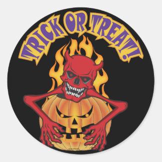 Halloween Devil Skul Classic Round Sticker