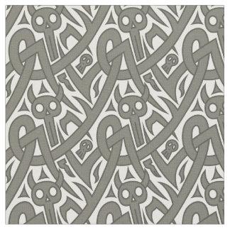 Halloween devils, skulls geometric pattern fabric