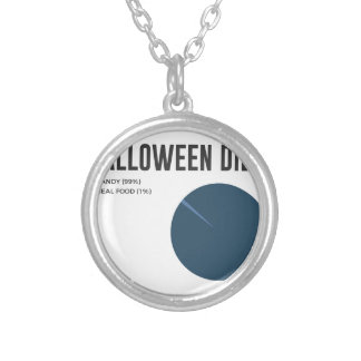 Halloween Diet Sweets Treats and Candy Design Silver Plated Necklace