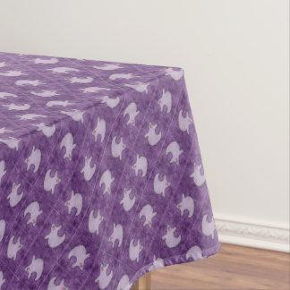 Halloween Diva Ghost on Diagonal Purple Tiles Tablecloth