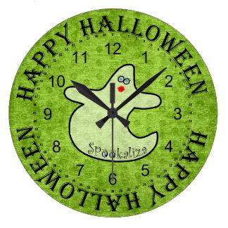 Halloween Diva Ghost, Spookaliza on Green Large Clock