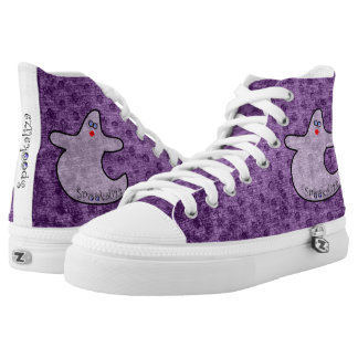 Halloween Diva Ghost Spookaliza on Purple Texture High Tops