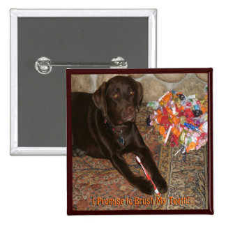 Halloween Dog with Sweet Tooth 2 Inch Square Button