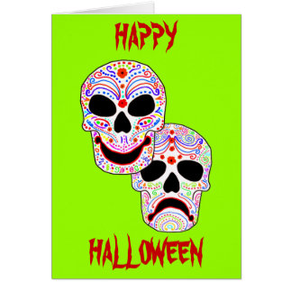 Halloween DOTD Comedy-Tragedy Skulls Card