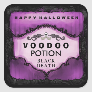 Halloween Drink Label Purple & Black Large Square