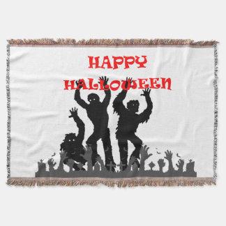 Halloween drooling zombie throw blanket